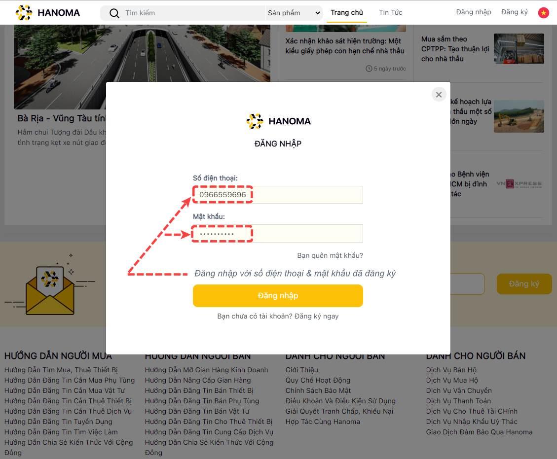 Hướng dẫn đăng ký tài khoản trên website hanoma.vn 4